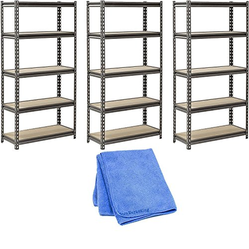 Muscle Rack UR301260PB5P-SV Silver Vein Steel Storage Rack, 5 Adjustable Shelves, 4000 lb. Capacity, 60'' Height x 30'' Width x 12'' Depth, 3-Pack with Dust Wipe Cloth by Müscle Rack