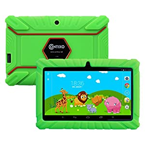 """BLACK FRIDAY DEAL! Contixo Kids Safe 7"""" Quad-Core Tablet 8GB, Bluetooth, Wi-Fi, Cameras, 20+ Free Games, HD Edition w/ Kids-Place Parental Control, Kid-Proof Case (Green)"""