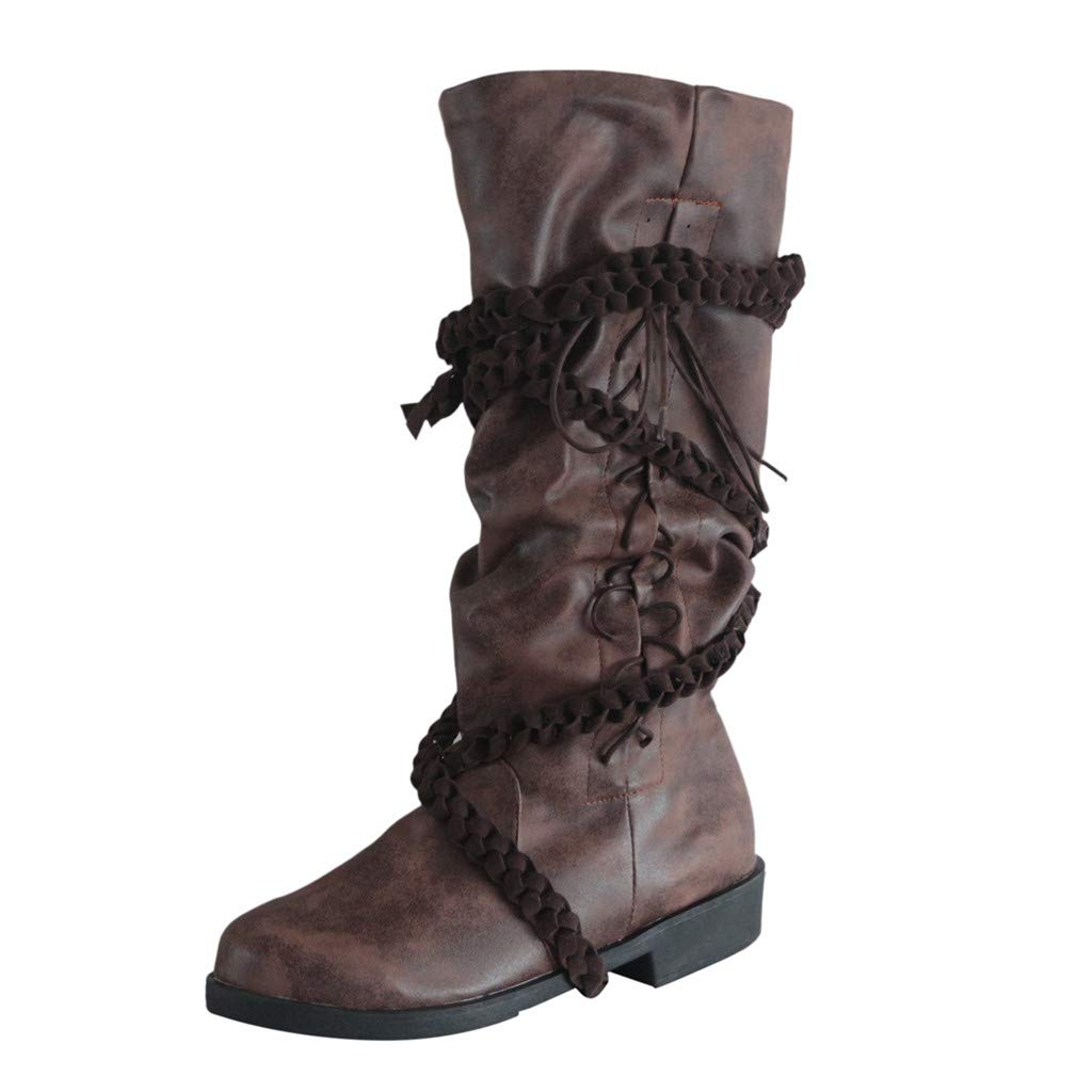 perfectCOCO Winter Warm Long Boots PU Leather Cross Strap Middle Tube Boot Low Heel Lace-Up Knight Boots for Men Women by perfectCOCO