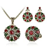 PSEZY Crystal Flower Necklace Sets Earing Strawberry Jewelry Turkish Pc Combination Nigerian Red Bead Necklace