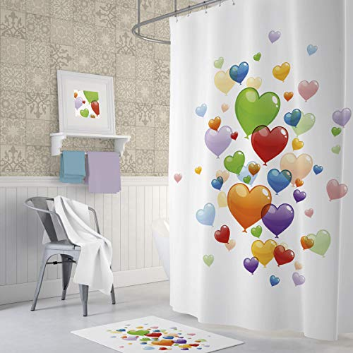 American Bath Linen Decor Shower Curtain Set,Bathroom Accessories,Digital Photo Art,Eco-Friendly,Water-Repellent Fabric,Odorless,Included Hooks (Hearts, 47 x 72) - Heart Shower Curtain