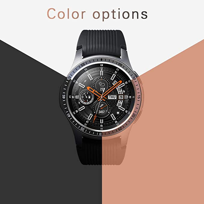 2b05fbe0379d [2 Pack] JZK Samsung Galaxy Watch 46mm/Gear S3 Frontier & Classic Bezel  Ring Styling,Adhesive Cover Anti Scratch & Collision Bezel Loop+Protector  Case ...