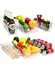 6-Pieces Organizer Bins for Refrigerator, Freezer, Drawer and Pantry BPA-Free