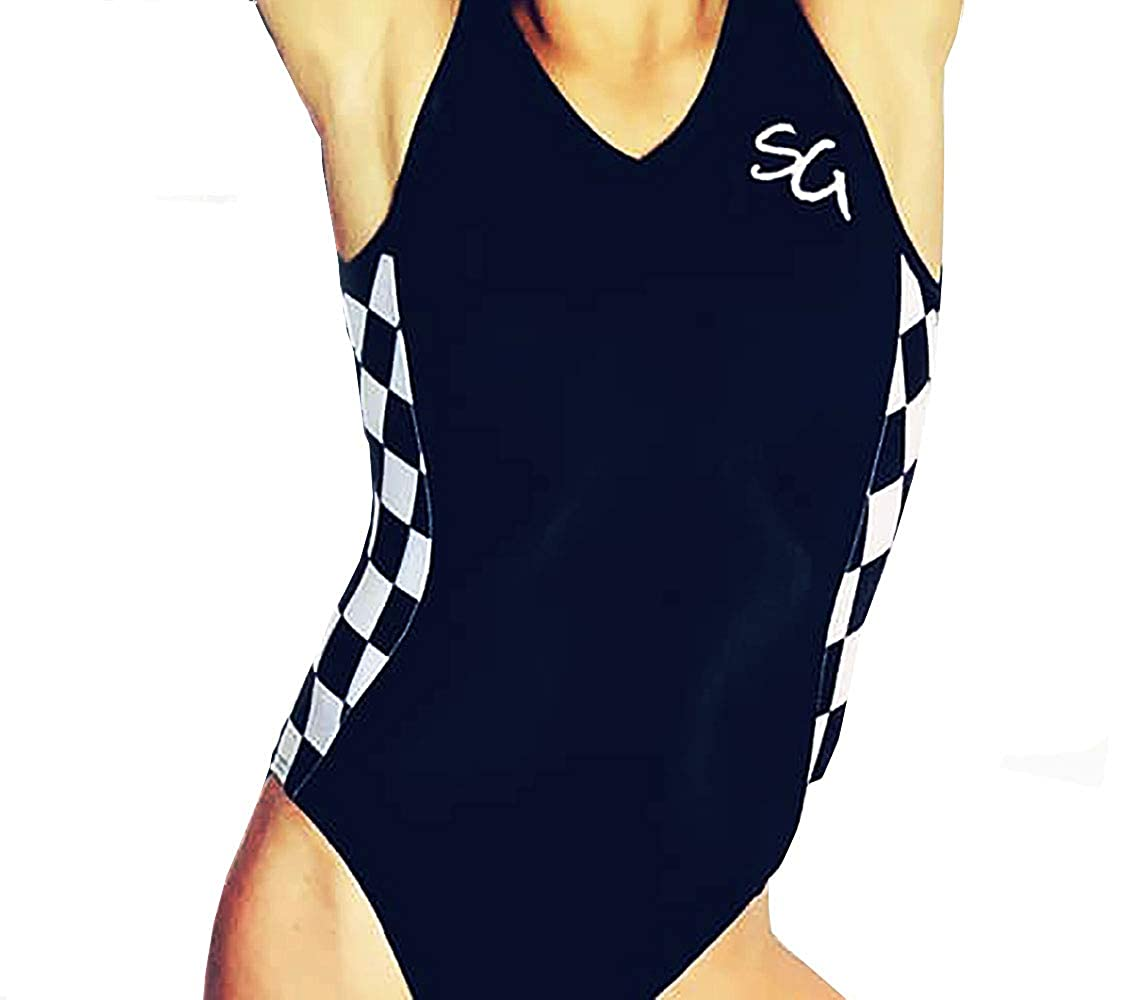 SG Black and White Checkered Print Gymnastics Leotard AXS