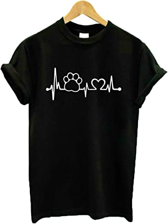 Lifeline Perro Gato Mujer Camiseta Algodón Casual Camiseta ...