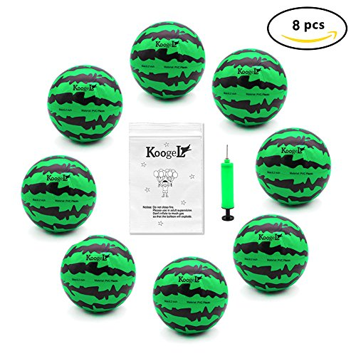 Koogel Kids Ball Playground Ball, Inflatable Ball with Pump 6.2 inch diameter Rubber Bouncing Ball for Watermelon Party Swimming Pool and Beach Watermelon Air Ball for Outdoor Games and Kickball Watermelon Ball