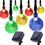 Globe Outdoor Solar String Lights 30 LED (19.7ft) Waterproof Fairy Bubble Crystal Ball Christmas String Lights Holiday Wedding Garden Patio Party Thanksgiving Decoration Lights, 2-Pack (Multicolor)