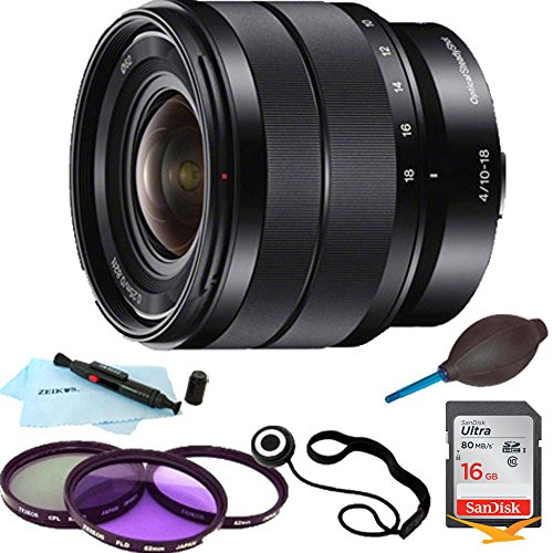 Sony SEL1018 10-18mm Wide-Angle Zoom Lens ESSENTIALS BUNDLE with 16GB SD Card, Multi Coated Laser Cut Filter Kit, Lens Cap Keeper, Lens Pen Cleaning Kit, Dust Blower by Beach Camera