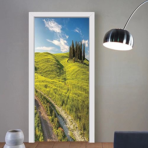 Gzhihine custom made 3d door stickers Room Blooming Flowers And Snowcapped Mountain Tops In The Background National Park Bavaria Germany Decor For Room Decor 30x79 ()
