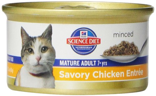 Hills Science Diet Mature Adult Savory Chicken Entree Minced Cat Food 3-Ounce Can 24-Pack