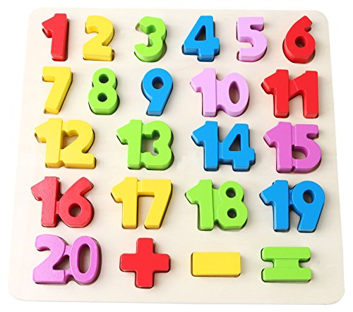 (Babe Rock Wooden Number Puzzles for Toddlers 2-3 Years Old Boy Girl Learning Toys 23 Pieces)