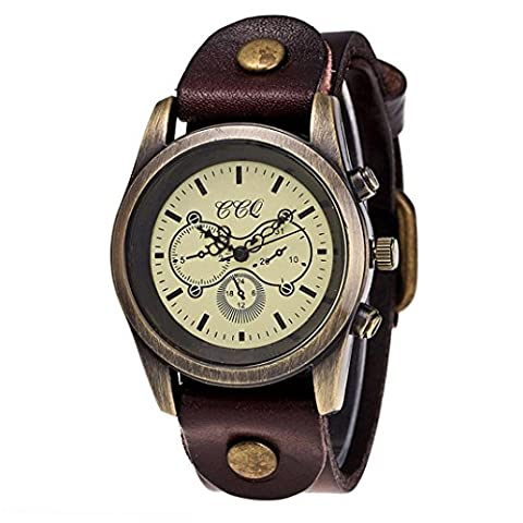 Howstar Wrist Watch Luxury Vintage Leather Watch Men Women Quartz Round Analog Wrist Watch (Coffee) - Vintage Leather Accessories