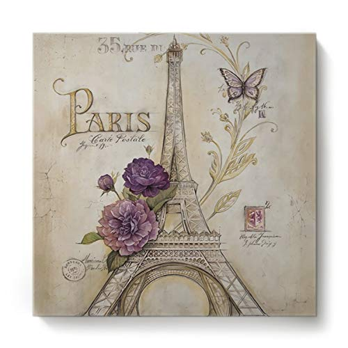 12x12 In Wall Art Vintage Butterfly Paris Tower Flowers Artwork Canvas Print Painting Stretched and Framed for Living Room Decor and Modern Home Decorations Photo Prints