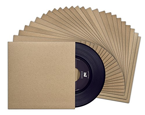 Blank Chipboard - TunePhonik 7-inch Kraft Brown Outer Vinyl Record 45 Jackets with No Center Hole | 25 Pack Made in Los Angeles