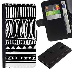 For Samsung Galaxy S5 Mini / Galaxy S5 Mini Duos / SM-G800 !!!NOT S5 REGULAR! ,S-type® Drawn Ink Art White Black Chevron - Dibujo PU billetera de cuero Funda Case Caso de la piel de la bolsa protectora