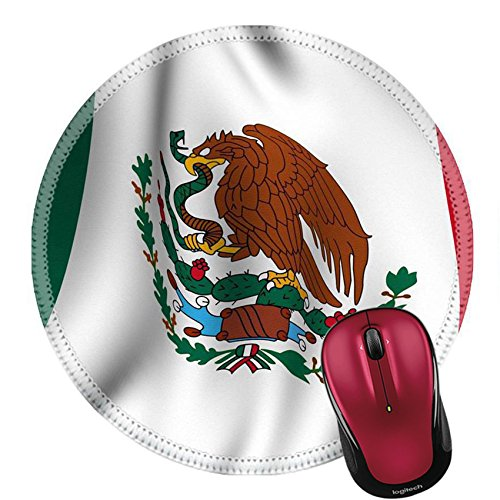 Liili Round Mouse Pad Natural Rubber Mousepad IMAGE ID: 3311885 Rendering of a waving flag of Mexico with accurate colors and design