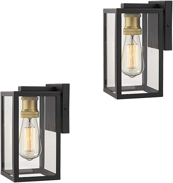 Amazon Com Zeyu Outdoor Wall Lights 2 Pack Exterior Wall Sconces Black And Gold Finish With Clear Glass 02a150 2pk Bk Home Improvement