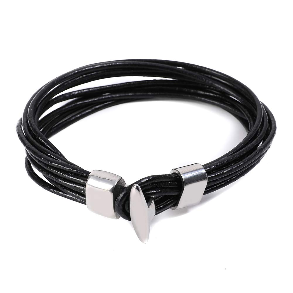 HuayoRong Punk Men Jewelry Bracelet Ropes Black Leather Bracelet with Simple Locking Stainless Steel Clasp Braided Cuff Bangle Wrist Band Gifts