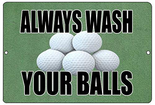 - Rogue River Tactical Funny Golf Metal Tin Sign Golf Wall Decor Always Wash Your Balls Man Cave Bar Golfer