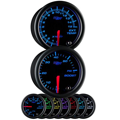Glowshift Black 7 Color 52mm Universal Gauge Diesel Combo Kit 60 PSI Boost & Pyrometer (Series Pyrometer Kit)