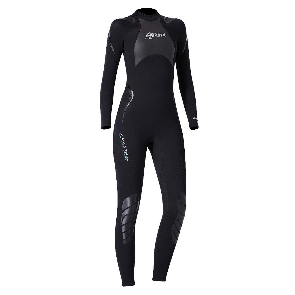 iCJJL Women's Neoprene Wetsuit Long-Sleeve Back Zip Full Body Sport Rash Guard Dive Skin Suit with Super Stretch, Perfect for Surfing, Diving, Snorkeling, All Water Sports by iCJJL