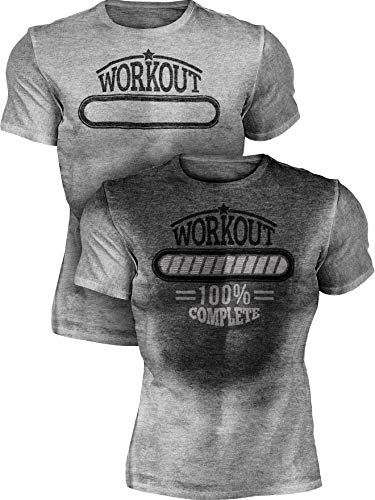 Actizio Sweat Activated Funny Motivational Workout Shirt, Workout Complete (Athletic Heather, XXL)