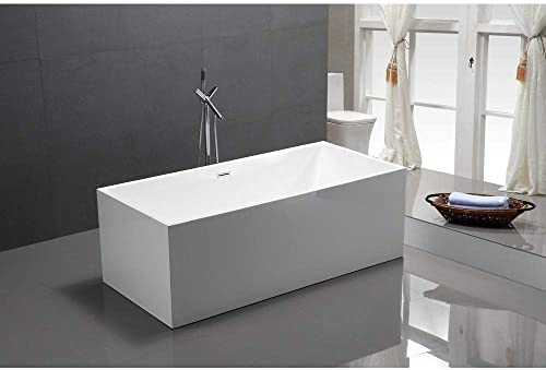 Vanity Art 59-Inch Freestanding Acrylic Bathtub Modern Stand Alone Soaking Tub with Chrome Finish, UPC Certified, Slotted Overflow Pop-up Drain – VA6813B-S