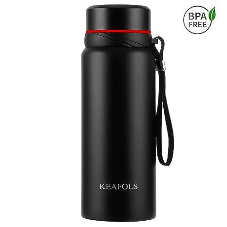 KEAFOLS Botella De Agua 750 ml, Acero Inoxidable 18/8, Fugas y Resistente al Sudor tapón de Acero Inoxidable Doble Pared Termo para Bebidas Calientes ...