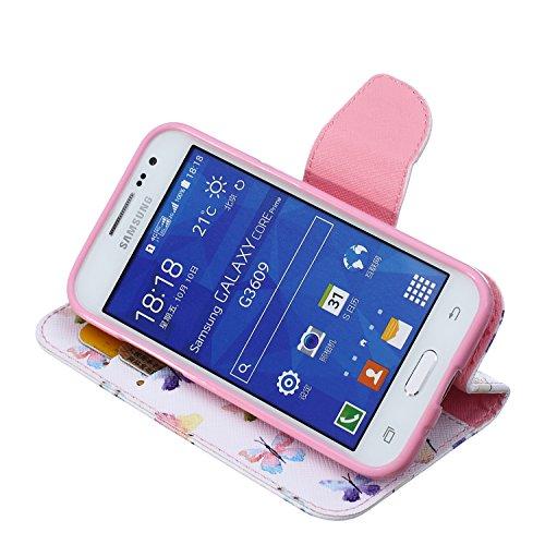 Funda Samsung Core Prime G360, Samsung Galaxy Core Prime G360 Carcasa Funda Cuero [Pluma Libre] Samsung Galaxy Core Prime G360 Case Book Estilo Libro billetera con correa de cordón Magnético Folio Fli Multi mariposas