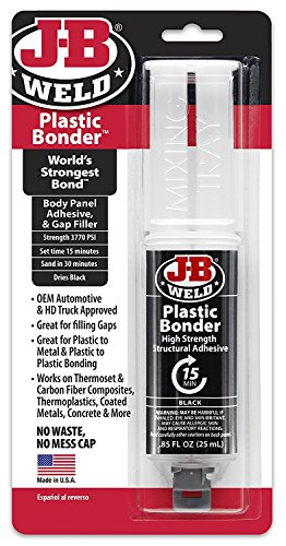 J-B Weld 50139 Plastic Bonder Body Panel Adhesive and Gap Filler Syringe - Dries Black - 25 ml (2)