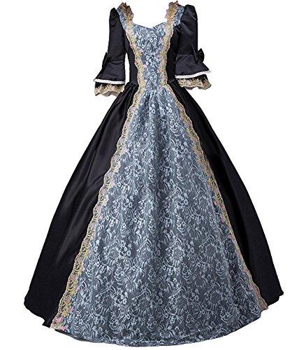 ROLECOS Womens Royal Vintage Medieval Dresses Lady Satin