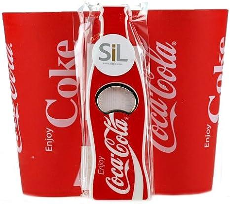 2 vasos de Coca Cola vaso con tapa y pajita, diseño retro de Coca Cola abrebotellas Set: Amazon.es: Hogar