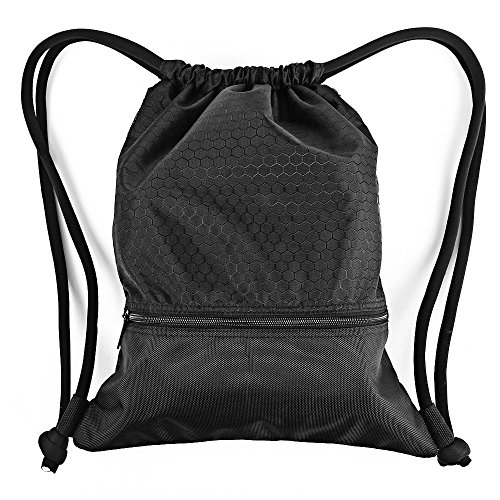 Esvan proof Gymbag Large Drawstring Backpack Gymsack Sackpack For Sport Traveling Basketball Yoga Running (M Size - Black)