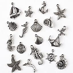 An Assorted Mix of 100 Silver Pewter Ocean and Sea Life Themed Charms