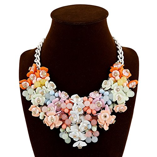 truecharms Fashion Choker Bib Necklace Multicolor Flower Crystal Collier Femme Brand Women Jewelry Statement Necklaces Collar