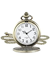 Lancardo Antique Pocket Watch Pendant Bronze Dial Open Faced Roman Numerals Vintage Chain with Gift Bag