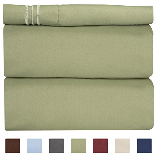 3 Sofa Piece Leaf (Twin Size Sheet Set - 3 Piece Set - Hotel Luxury Bed Sheets - Extra Soft - Deep Pockets - Easy Fit - Breathable & Cooling - Wrinkle Free - Comfy – Sage Green Bed Sheets – Twins Sheets - 3 PC)