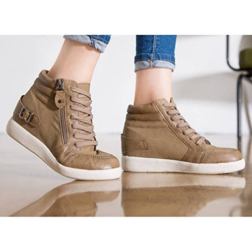 Epicstep Donna Casual Alte Cime Scarpe Tacco Zeppe Nascoste Zip Sneakers Stringate Beige