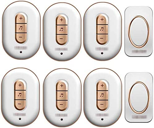 ウォールプラグインコードレスドアチャイム、IP44防水ドアベルキット、900フィートの範囲48チャイム6レベルボリューム(2つのプッシュボタンと6つのレシーバー),1