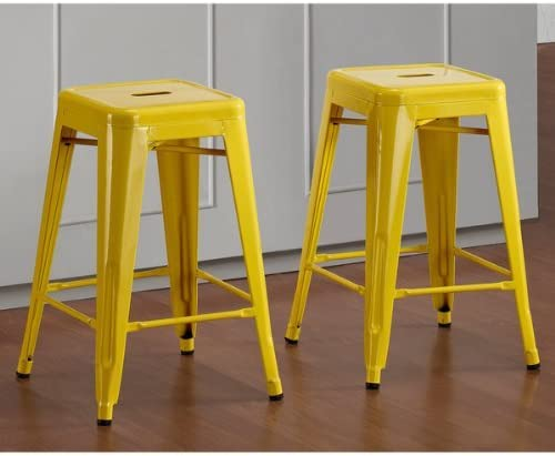 Tabouret 24-inch Lemon Metal Counter Stools Set of 2