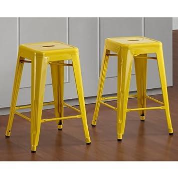 Tabouret 24-inch Lemon Metal Counter Stools Set of 2