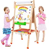 BATTOP Adjustable All-in-One Wooden Kid's Art Easel with Paper Roll and Accessories