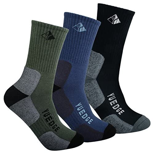 YUEDGE Men's Performance Moisture Wicking Cushion Crew Cotton Exercise Fitness Athletic Workout Training Running Socks