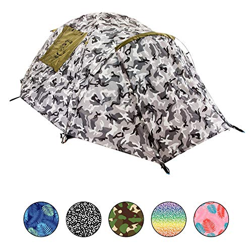 Chillbo CABBINS 2 Person Tent Cool Dome Tent for Camping Great Pop Up Tent Instant Tent for Backpacking and 2 Person Tents for Music Festivals Awesome Urban Camo Best Kids Tent Carpa 2 Personas