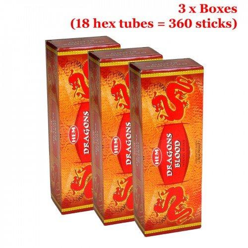 Hem Dragons Blood Red Incense, 3 Boxes - (360 Sticks per order) Bulk order
