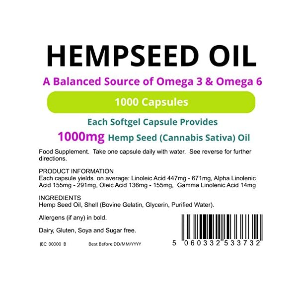 Lindens Hempseed Oil 1000mg Capsules | 1000 Pack | UK Manufacturer…..