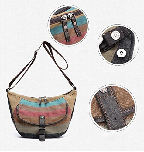 Women's LXYIUN Bag Diagonal Waterproof Shoulder Package Handbag Splicing Canvas FFrpzqd6x