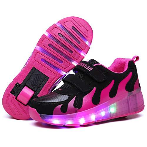 Nsasy YCOMI Girl's Boy's LED Light Up Single Wheel Double Wheel Shoes Roller Skate Shoes (34 M EU / 3 M US Little Kid) ()
