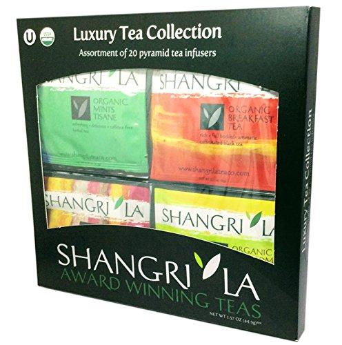 Shangri-La Tea Company Hot Sachet Luxury Tea Collection,  10 Assorted Flavors, 20 Silken Sachet Bags ()