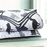 Sleeping Partners Kitty Cat Pompom Trimmed Quilt and Pillow Shams, Grey (Twin)